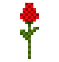Pixelated rose icon vector