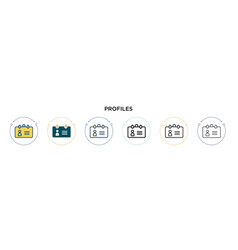 Profiles icon in filled thin line outline and vector