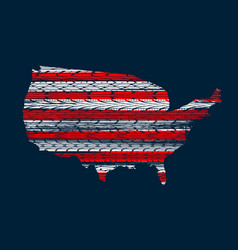 red and white lines and usa map vector image