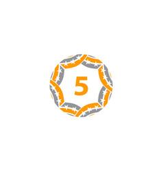 ribbon circle star number 5 vector image