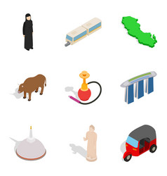 Risky journey icons set isometric style vector