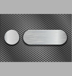 Round and oval metal brushed plates on iron vector