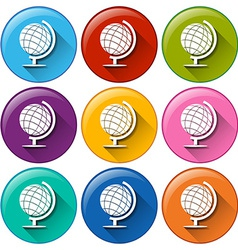 Round buttons with globes vector