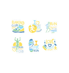 running sport club logo set i love run hand drawn vector image