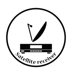 Satellite receiver with antenna icon vector image