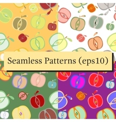 Seamless background patterns set with apples vector image