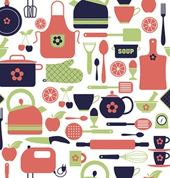 Seamless pattern kitchen tools vector image