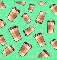 Seamless pattern with coffee takeaway on green vector