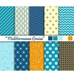set 10 simple seamless patterns mediterranean vector image