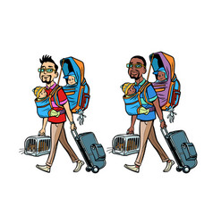 Set good white and black father traveller vector