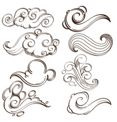 Set of abstract wavy elements hand drawn sketch vector