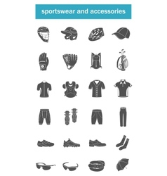 set of icons sports accessories clothes vector image