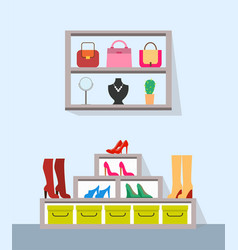 shelves with handbags jewelry and varied footwear vector image