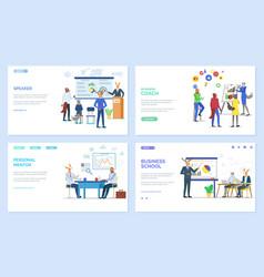 Speaker and personal mentor coach website set vector