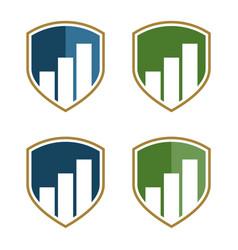 stock exchange shield logo template design vector image