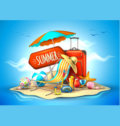 Summer vacation realistic 3d poster vector