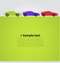Three cars in the race green background vector