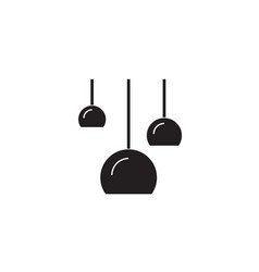 three ceiling lamps black concept icon vector image