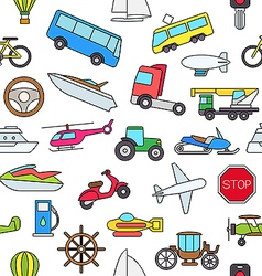 Transport colorful pattern icons vector