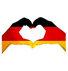 Two palms make heart shape german flag vector