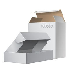 Two White Package Box Opened For Software vector