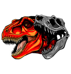 Tyrannosaurus rex skull fossil vector