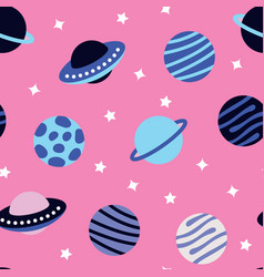 Universe with planets seamless pattern vector
