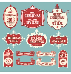 Vintage Christmas frames banners and ribbons vector