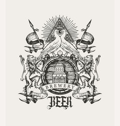 Vintage hand-drawn coat arms old brewery vector
