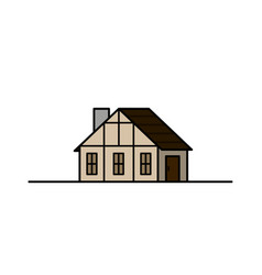 Vintage medieval historical house and vector
