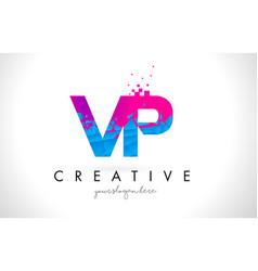 Vp v p letter logo with shattered broken blue vector