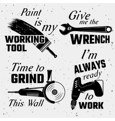 Work Tools With Quotes Set vector