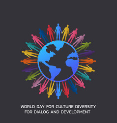 World day for culture diversity for dialog and vector