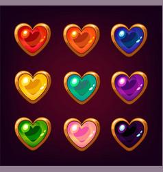 cartoon colorful heart gemstones vector image