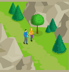 colorful isometric hiking template vector image vector image