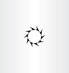 Decagon arrow black circle icon vector