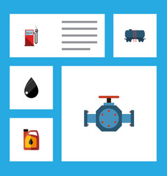 flat icon fuel set of flange droplet jerrycan vector image vector image