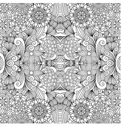 flowers and swirls line decorative pattern vector image