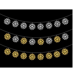 Gold and silver textured Christmas lights set vector image