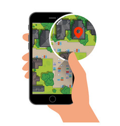 mobile gps navigation on mobile phone with map and vector image