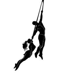 Acrobatic young girl and boy vector image