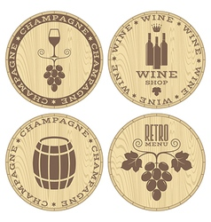 Champagne wine wood labels on white vector