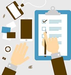 Checklist hand vector image