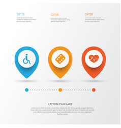 drug icons set collection of remedy handicapped vector image
