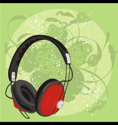 earphone with grunge background vector image vector image