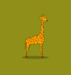 giraffe isolated on a green background vector image