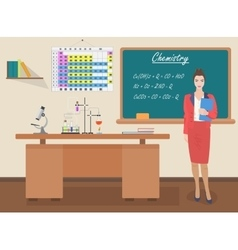 School Chemistry female teacher in audience class vector image