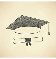 Scribble graduation cap and diploma vector image