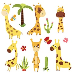 Set funny giraffes vector image vector image