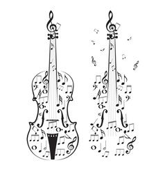 Violin with Notes vector image vector image